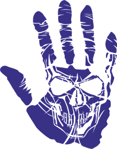 Skull in Hand Logo Vector