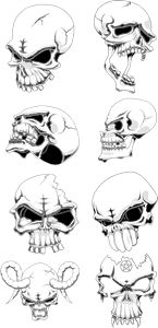 Skull Set Logo Vector