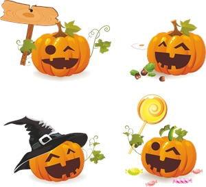 smile happy halloween pumpkins Logo Vector