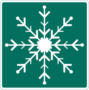 SNOW ON THE ROAD SIGN Logo Vector