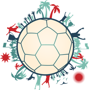 Soccer players around a soccer ball Logo Vector