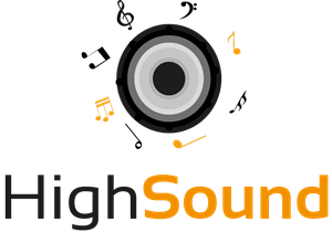 Speaker and Musical Notes Logo Vector