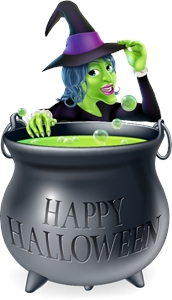 spooky halloween witch girl cauldron Logo Vector