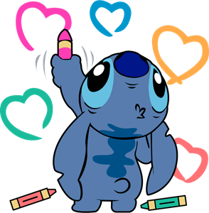 Stitch Coloring Hearts Logo Vector