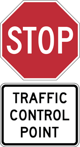 STOP TRAFFIC CONTROL SIGN Logo Vector
