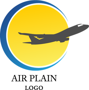 Sun Airplane Art Logo Vector