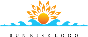 Sun Rise Water Art Logo Vector