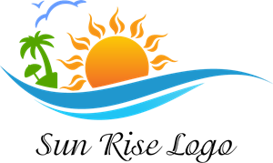 Sun Rise Water Beach Art Logo Vector