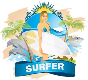 Surfer Girl emblem Logo Vector