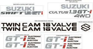 SUZUKI SWIFT GTI & CULTUS GTI 4WD KIT DECAL Logo Vector