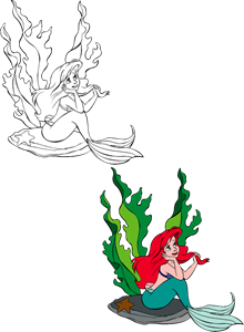 The little mermaid - Ariel Logo Vector