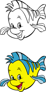 The little mermaid - Flounder Logo Vector