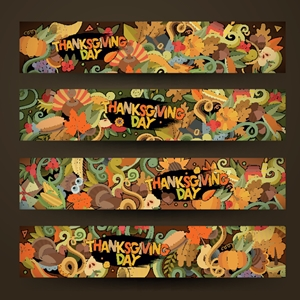 thanksgiving autumn banner hand drawn Logo Vector