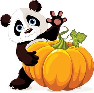 thanksgiving cute little panda pumpkin Logo Vector