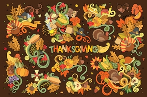 thanksgiving day autumn hand drawing Logo Vector