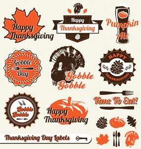 thanksgiving day vintage labels stickers Logo Vector