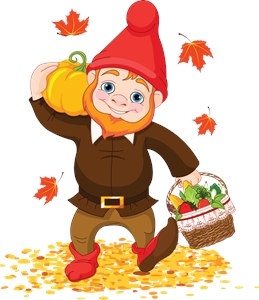 thanksgiving garden gnome pumpkin vegitable basket Logo Vector