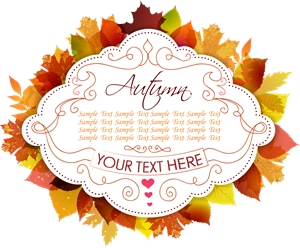 thanksgiving label with autumn leaves Logo Vector