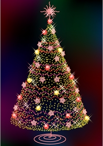 three glittering christmas tree Logo Vector