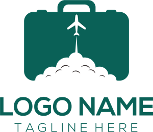 Travel bag and plane Logo Vector
