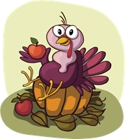 turkey sitting pumpkin Logo Vector