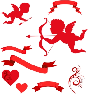 valentine angle cupids ribbon decorated Logo Vector