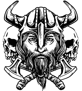Viking and skull Logo Vector