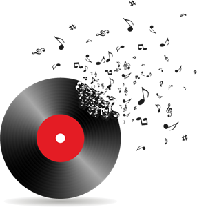 Vinyl Record Breaking Into Music Notes Logo Vector