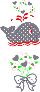 WHALE AND FLOWERS Logo Vector