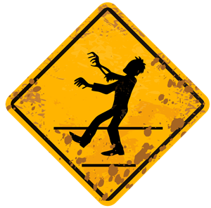 zombie crossing sign Logo Vector